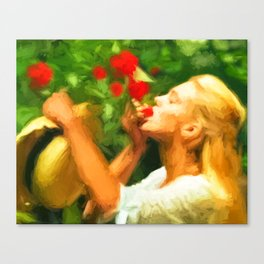 Lady eating wild strawberries Canvas Print