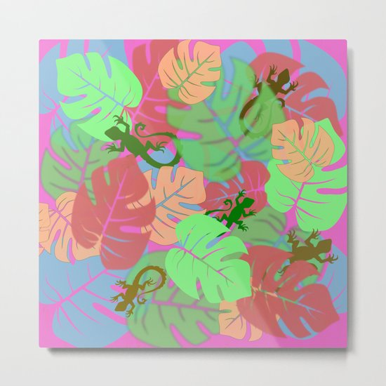 Monstera and Lizards (Retro Pink) Metal Print