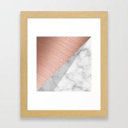 Rose Gold and Marble Framed Art Print