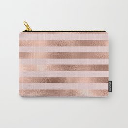 Rose Gold Blush Stripe Pattern Carry-All Pouch