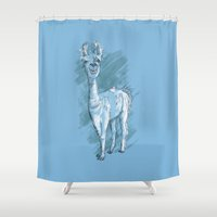 jennifer lawrence Shower Curtains featuring Lawrence T. Llama by Zach Henson