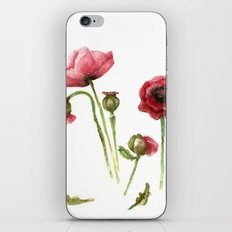 Red Poppies - Botanical Art - watercolor iPhone & iPod Skin