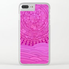 Hot Pink Ocean Mandala Clear iPhone Case