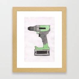 Power Drill Watercolor Framed Art Print