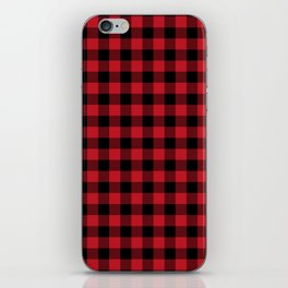 Plaid pattern red and black minimal modern cabin rustic decor nature inspired themed decor iPhone Skin