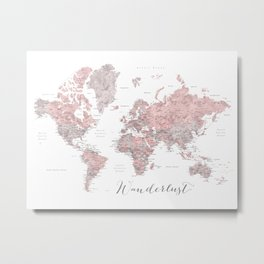 Wanderlust - Dusty pink and grey watercolor world map, detailed Metal Print