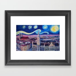Starry Night In Munich   Van Gogh Inspirations with Church of Our Lady and City Hall Framed Art Print
