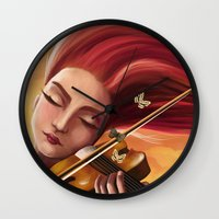 violin Wall Clocks featuring Violin by Negin Armon