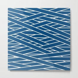 Classic blue and white tangled stripes pattern Metal Print