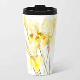 Yellow Irises, Soft yellow Floral Art Travel Mug