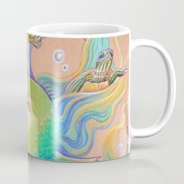 Mermaid With Baby Turtles Drawing Coffee Mug