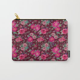 Burgundy Floral Thanksgiving , fall & winter floral in watercolor Carry-All Pouch