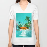 surfing V-neck T-shirts featuring Surfing by nicky2342