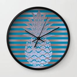 GLITTER PINEAPPLE ON GOLD BLUE STRIPES Wall Clock