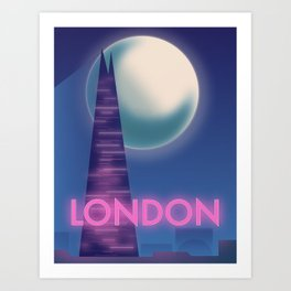 Neon London travel poster Art Print