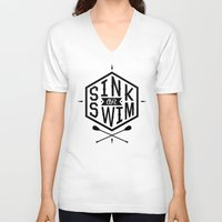 swim V-neck T-shirts featuring SINK OR SWIM by Wesley Bird