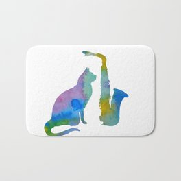 Cat With Saxophone Art Bath Mat