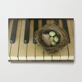 Chocolate Eggs in a Birds Nest on a Vintage Piano. Metal Print
