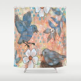 Whimiscal Birds in Nest Shower Curtain