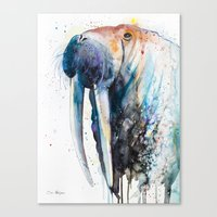 walrus Canvas Prints featuring Walrus by Slaveika Aladjova