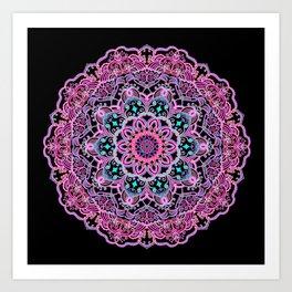 Mandala Project 281 | Pink Teal Purple Lace Mandala Art Print
