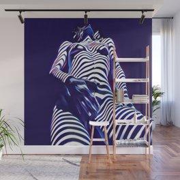 1813s-AK Sensual Blue Nude in Window Blind Stripes Wall Mural