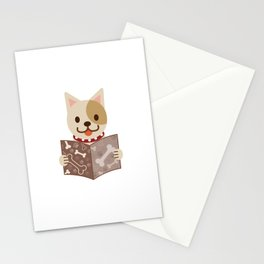Cute dog with a catalog of bone illustration Stationery Cards