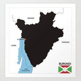 political map of burundi country with flag Art Print