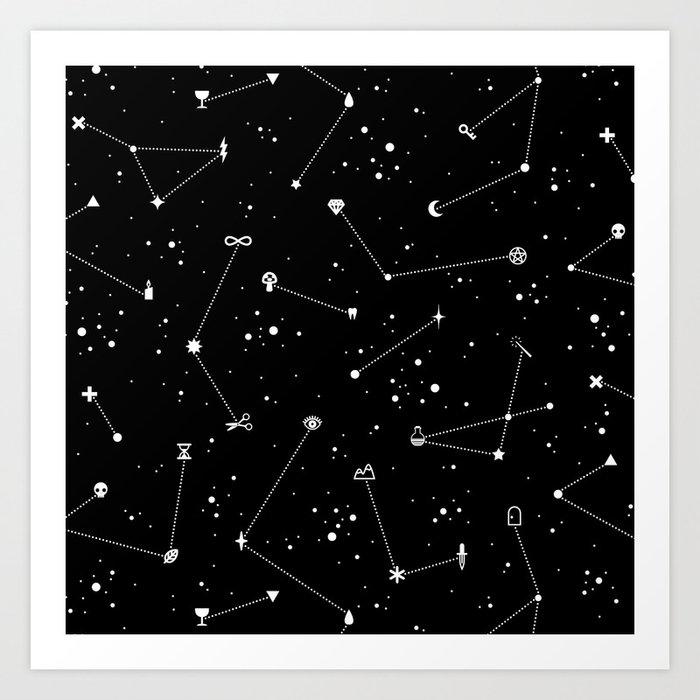 Constellations (Black) Art Print
