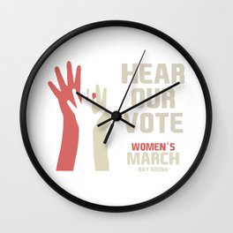 Women's March Bay Area Official Hear Our Vote Logo T-Shirt Wall Clock