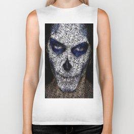 Skull In Black And White Biker Tank