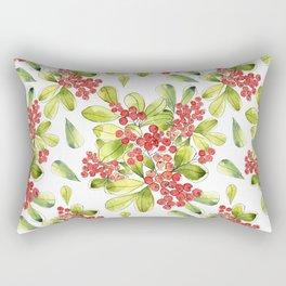 Luscious Red Berries Watercolor Rectangular Pillow