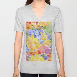 Modern whimsical pink purple yellow hand painted watercolor Unisex V-Neck
