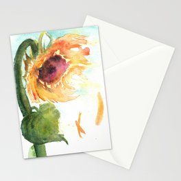 Sunflower Watercolor Study: Dusk Pink Stationery Cards