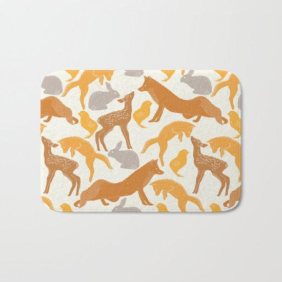 Deer Fox Rabbit Chick Playing Bath Mat