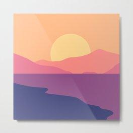 Sunset Beach Retro Landscape Metal Print