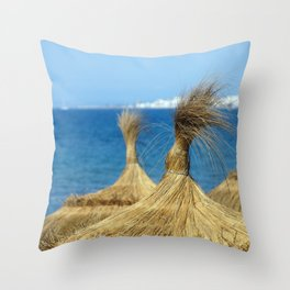 Straw huts on beach Throw Pillow