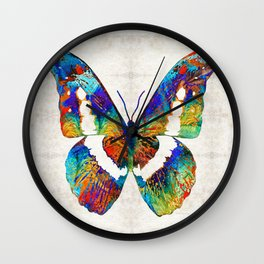 Colorful Butterfly Art by Sharon Cummings Wall Clock
