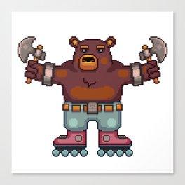 Travis the Bear Pixel Art Canvas Print