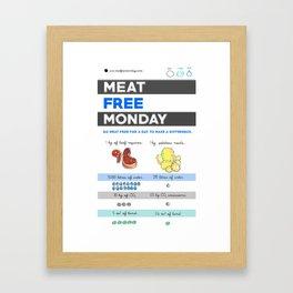 Eat Less Meat piece Framed Art Print