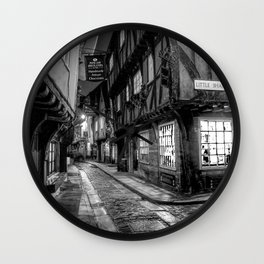 York Shambles in Black and White  Wall Clock