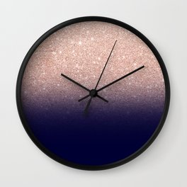 Modern faux rose gold glitter ombre gradient on navy blue Wall Clock