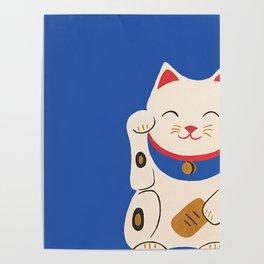 Blue Lucky Cat Maneki Neko Poster