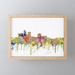 Des Moines, Iowa Skyline - Faded Glory Framed Mini Art Print