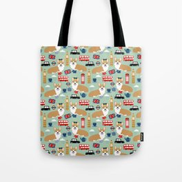 Welsh Corgi london england pattern cute corgis in britain dog breeds by pet friendly Tote Bag