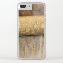 Water droplets on spine of dying banana leaf Clear iPhone Case
