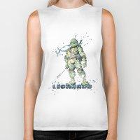 teenage mutant ninja turtles Biker Tanks featuring Leonardo Teenage Mutant Ninja Turtles by Carma Zoe