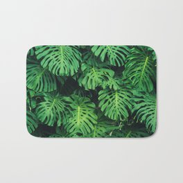 Monstera leaf jungle pattern - Philodendron plant leaves background Bath Mat