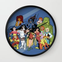 teen titans Wall Clocks featuring Teen Titans by poopsmoothie