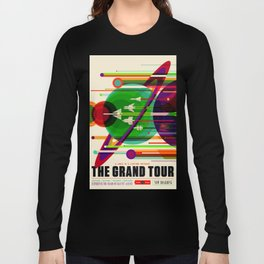 NASA Outer Space Saturn Shuttle Retro Poster Futuristic Explorer Long Sleeve T-shirt